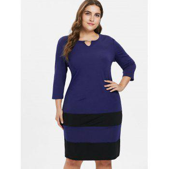Plus Size Striped Color Block Dress - COBALT BLUE 1X
