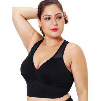 Plus Size Mesh Panel Racerback Fitted Bra - BLACK L