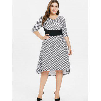 Plus Size Geometric Print Dip Hem Dress - BLACK 3X