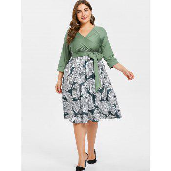 Plus Size Belted Printed Dress - GREEN 1X
