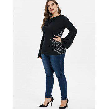 Plus Size Long Sleeve Cowl Neck Top - BLACK 3X