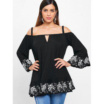 Cocheted Floral Ruffles Brim Shoulder Baring Blouse - BLACK XL