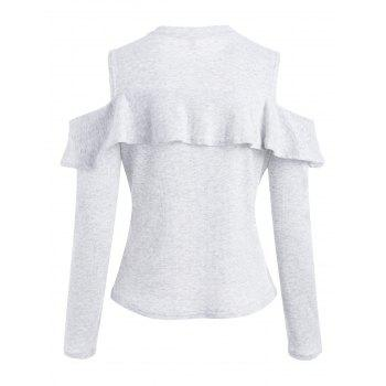 Ruffled Ribbed Cold Shoulder Knitwear - PLATINUM M