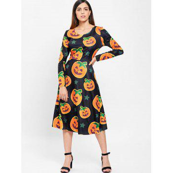 Halloween Pumpkin Print Midi Dress - BLACK L
