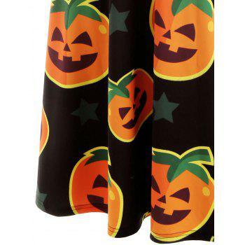 Halloween Pumpkin Print Midi Dress - BLACK 2XL