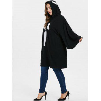Plus Size Halloween Drop Shoulder Hoodie - BLACK 2X
