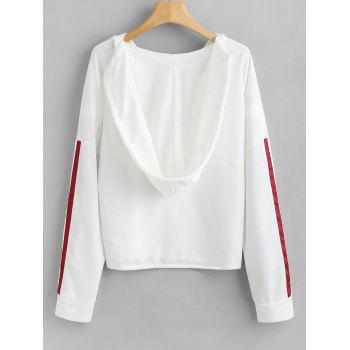 Striped Side Lace Up Hoodie - WHITE XL