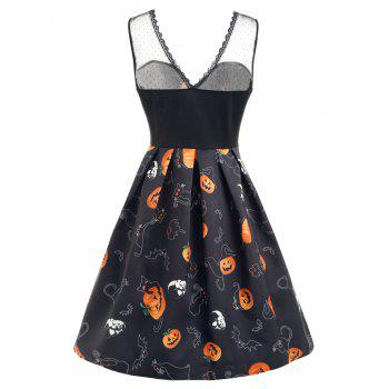 Halloween Pumpkin Print Lace Panel Dress - BLACK 2XL