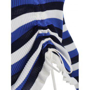 Flounced Drawstring Front Striped Sweater - BLUE ONE SIZE