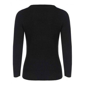 Two Tone Slim Fit Sweater - BLACK ONE SIZE
