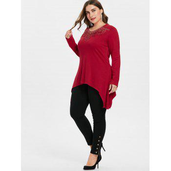 Plus Size Lace Detail Long Tee - RED 3X