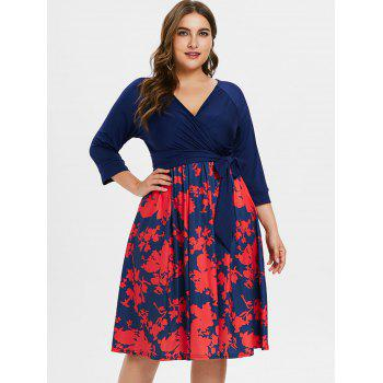 Plus Size Belted Printed Dress - BLUE 1X