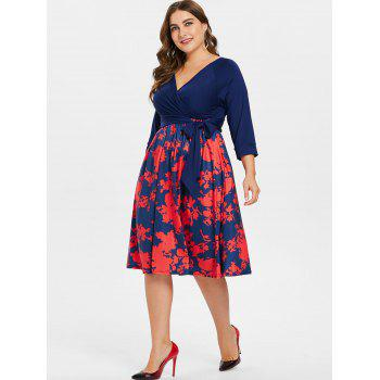 Plus Size Belted Printed Dress - BLUE 3X