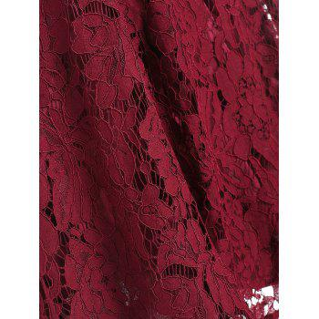 Lace Trapeze A Line Dress - RED WINE S