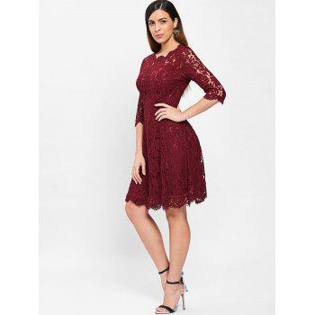 Lace Trapeze A Line Dress - RED WINE L