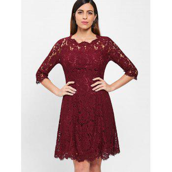 Lace Trapeze A Line Dress - RED WINE 2XL