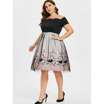 Plus Size Off Shoulder Fit and Flared Dress - BLACK 2X