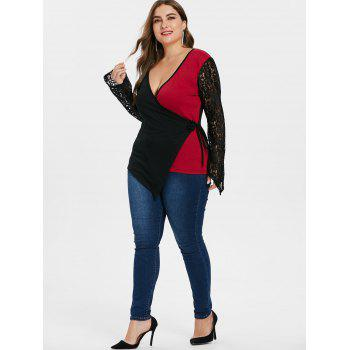 Plus Size Long Sleeve Plunging Neck Top - BLACK 3X