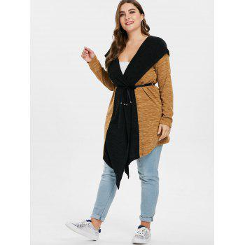 Plus Size Two Tone Hooded Coat - multicolor 5X