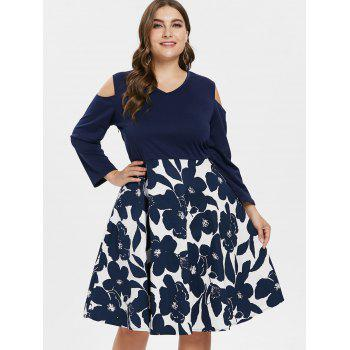 V Neck Plus Size Floral Print Swing Dress - multicolor 2X