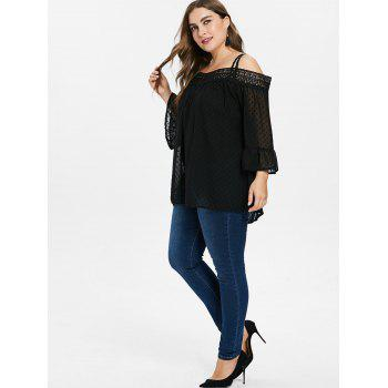 Back Criss Cross Lace Insert Plus Size Blouse - BLACK 5X