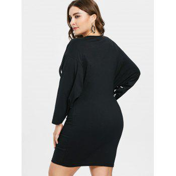 Plus Size Batwing Sleeve Shift Dress - BLACK 2X