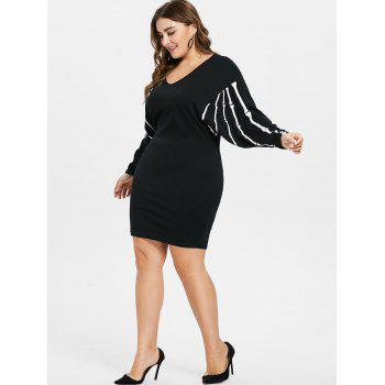 Plus Size Batwing Sleeve Shift Dress - BLACK 3X