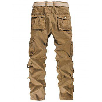 Solid Color Multi-pocket Cargo Pants - CAMEL BROWN XS