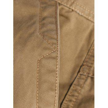 Solid Color Multi-pocket Cargo Pants - CAMEL BROWN XL