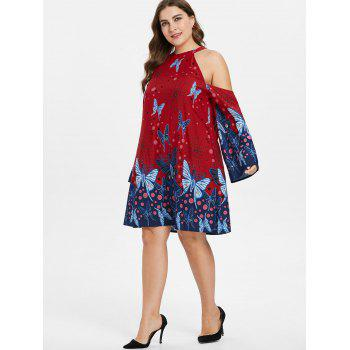 Plus Size Knee Length Butterfly Pattern Dress - LAVA RED L
