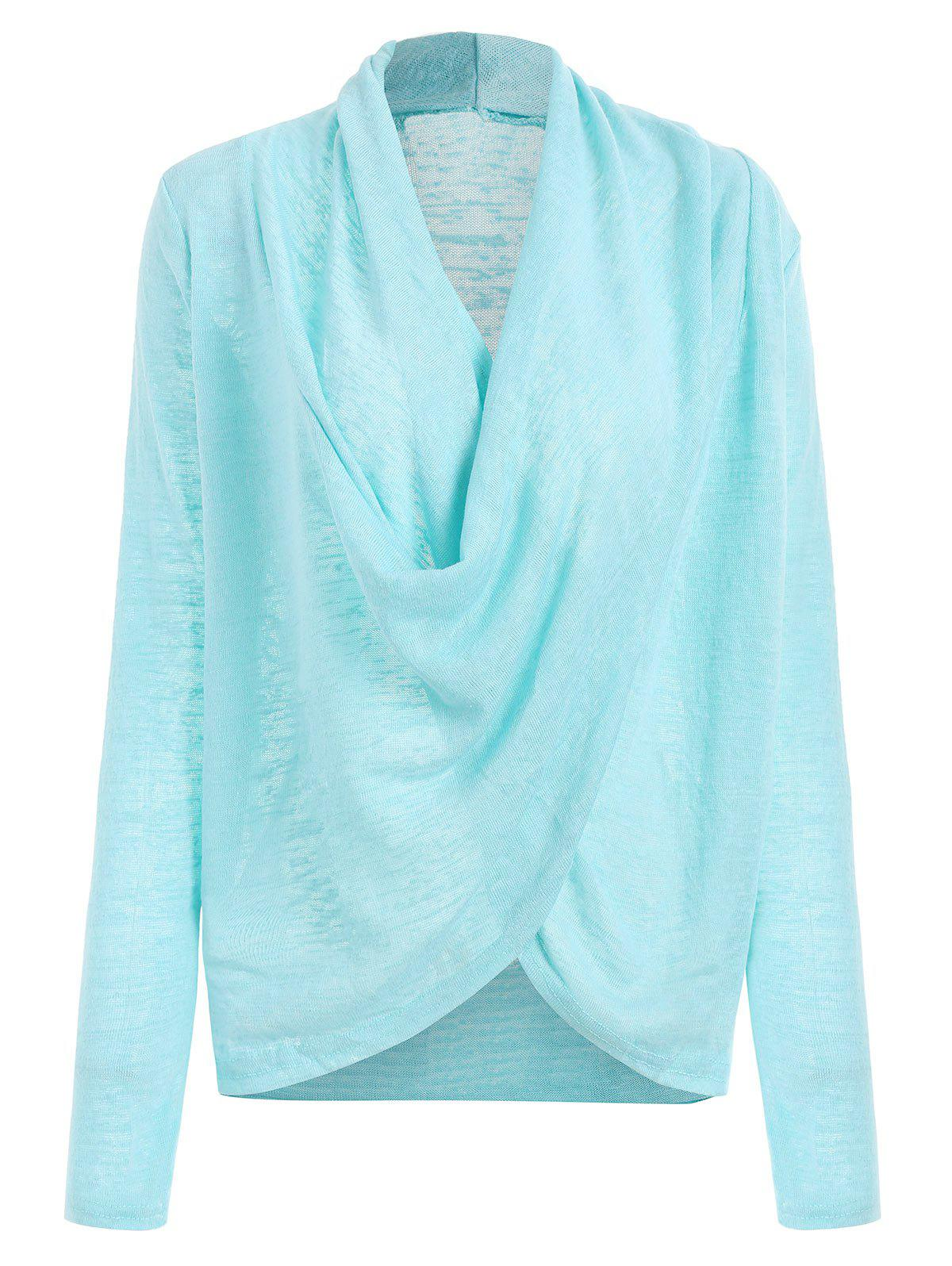Sheer Drape Wrap Sweater