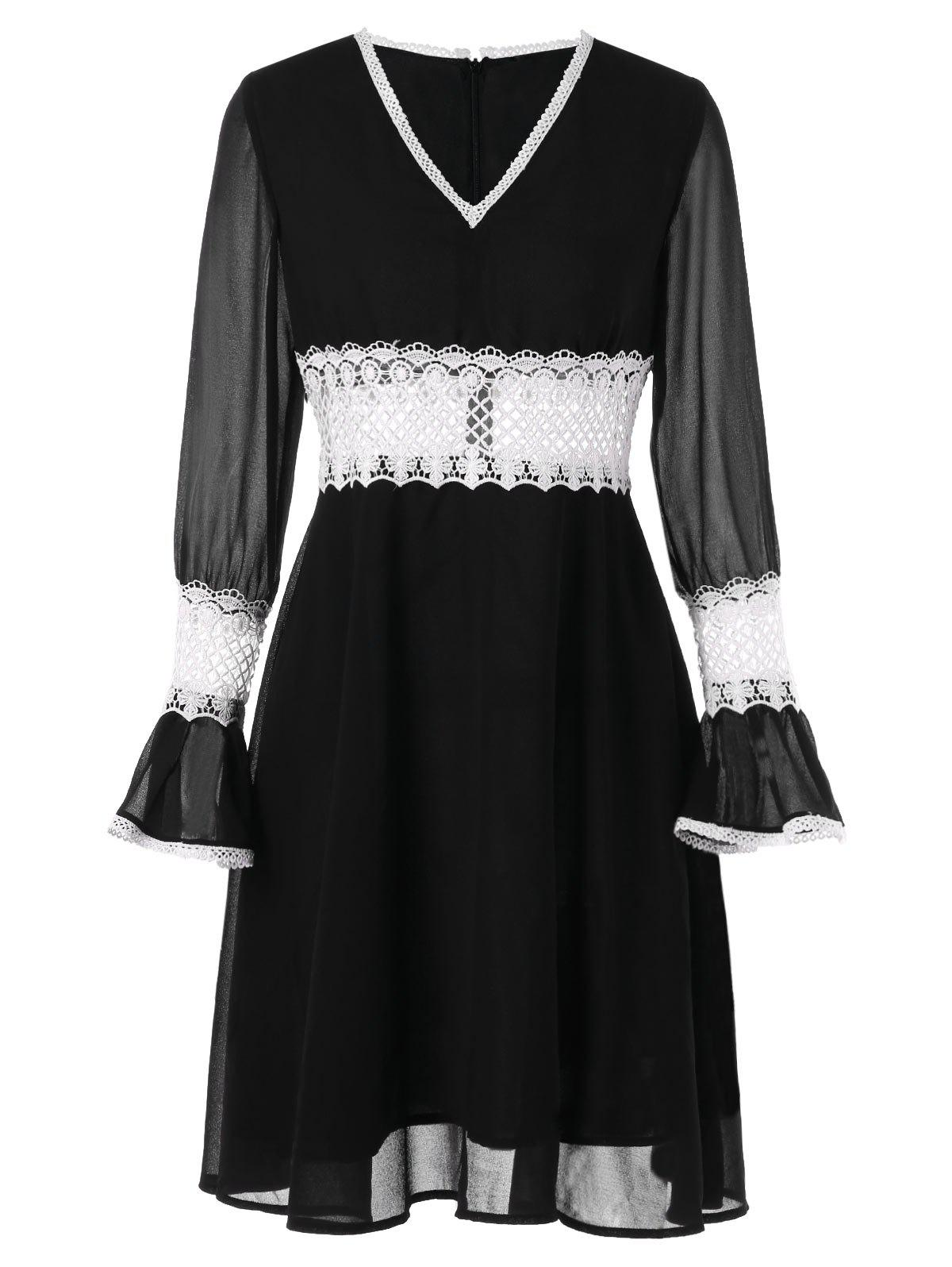 Contrast Lace Panel Chiffon Flare Dress - BLACK M