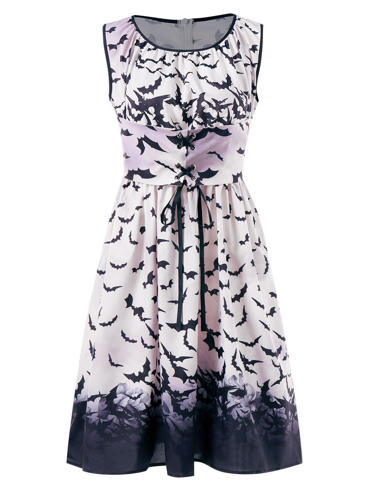 Lace Up Front Halloween Bats Print Dress - multicolor XL