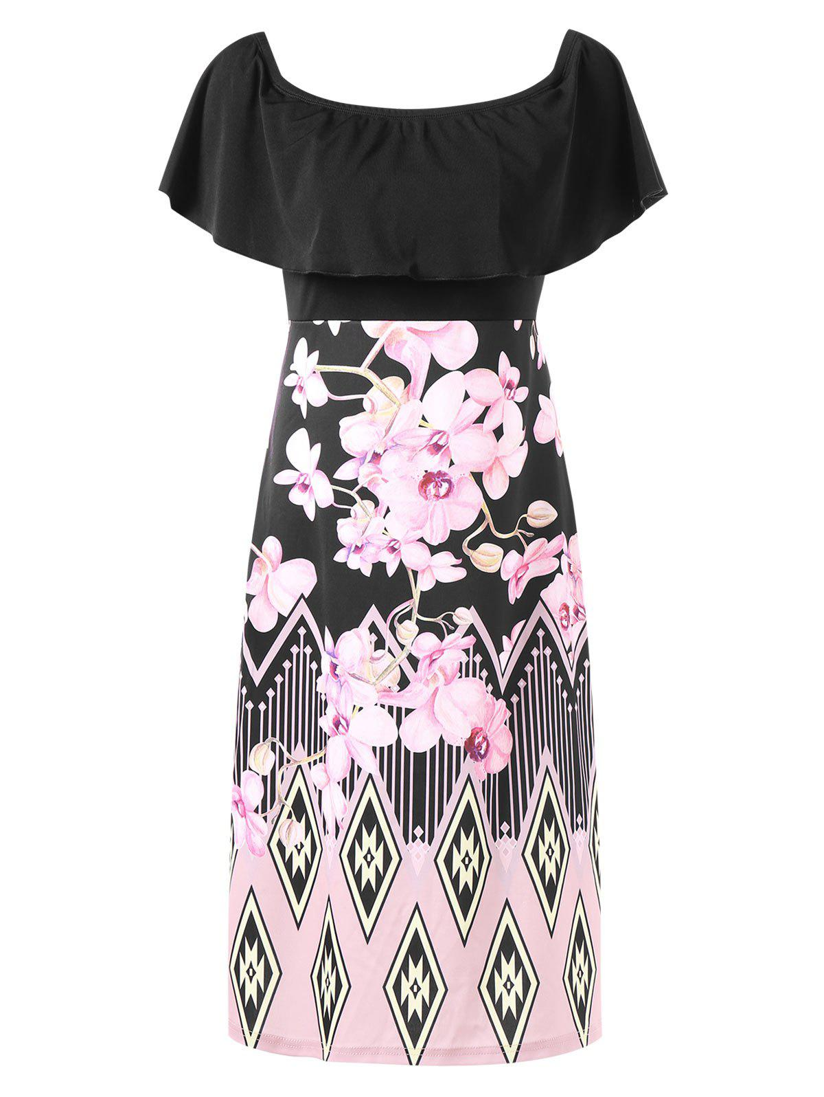 Floral Print High Waist Fold Over Dress - BLACK XL