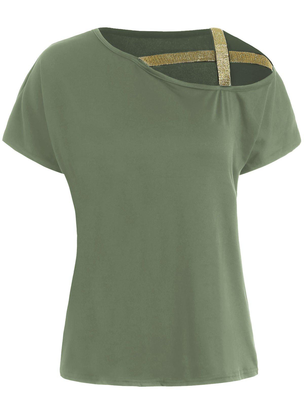 Shiny Straps Batwing Sleeve T-shirt - ARMY GREEN S