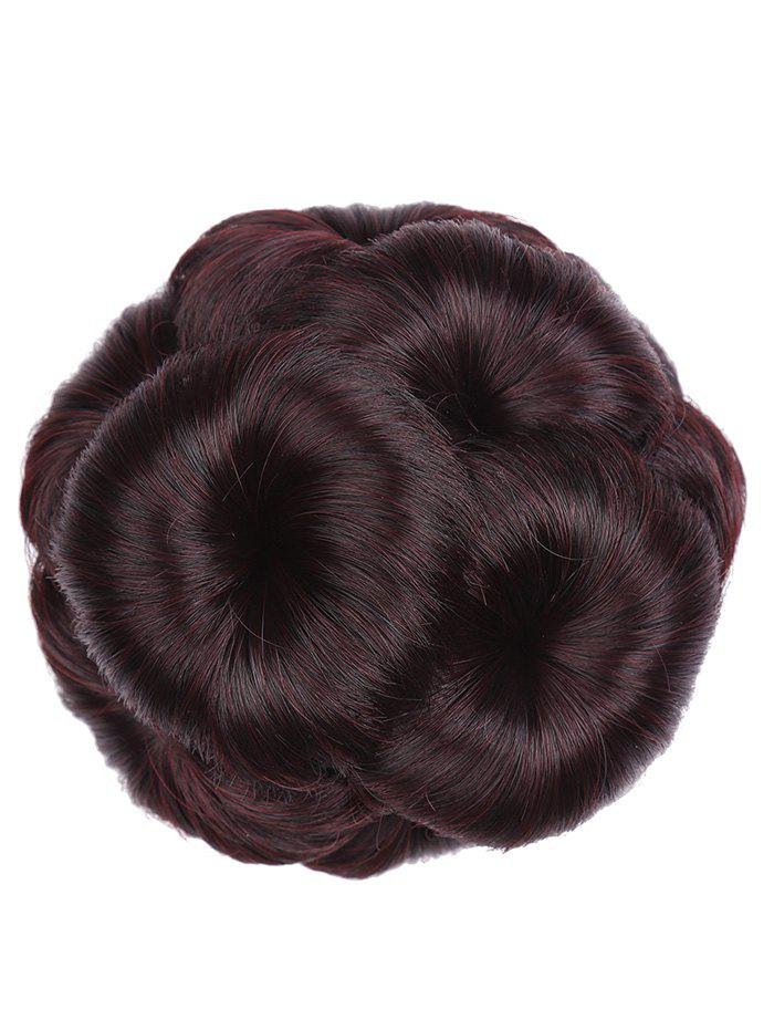 Clip in Curled Flower Synthetic Hair Bun Wig - multicolor C