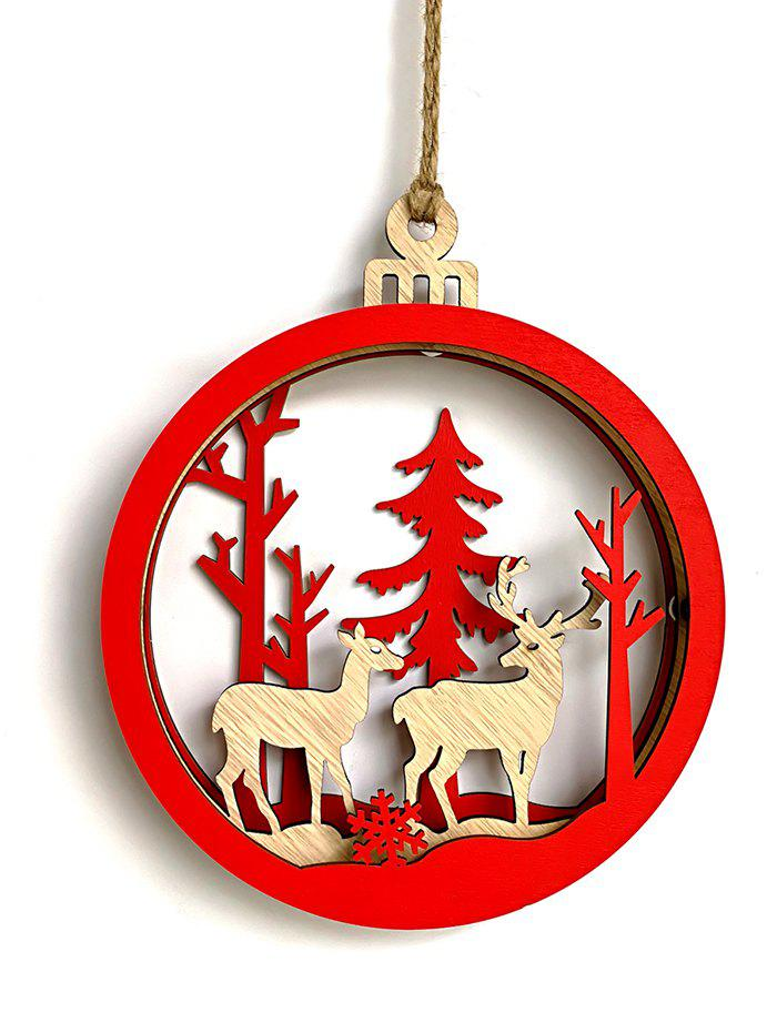 3D Deer Snowflake Christmas Wooden Hanging Decor - multicolor