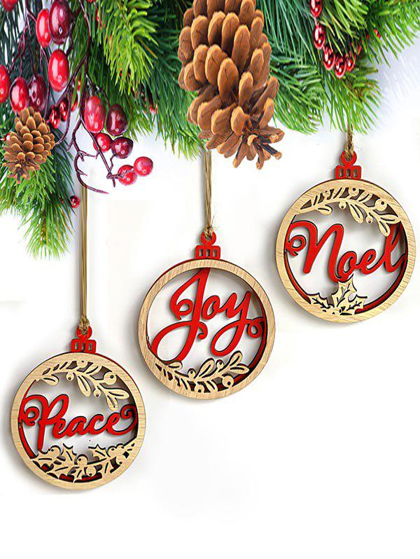 3D Circle Christmas Wooden Hanging Decoration Set - multicolor
