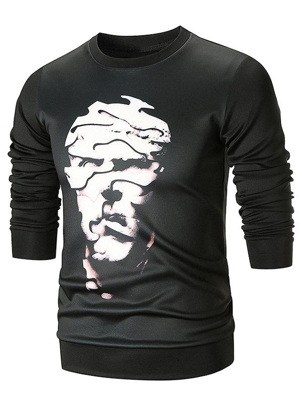 Abstract Face Printed Crew Neck Sweatshirt