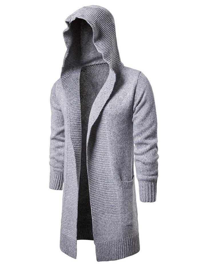 Solid Color Patch Pocket Hooded Cardigan - LIGHT GRAY XS