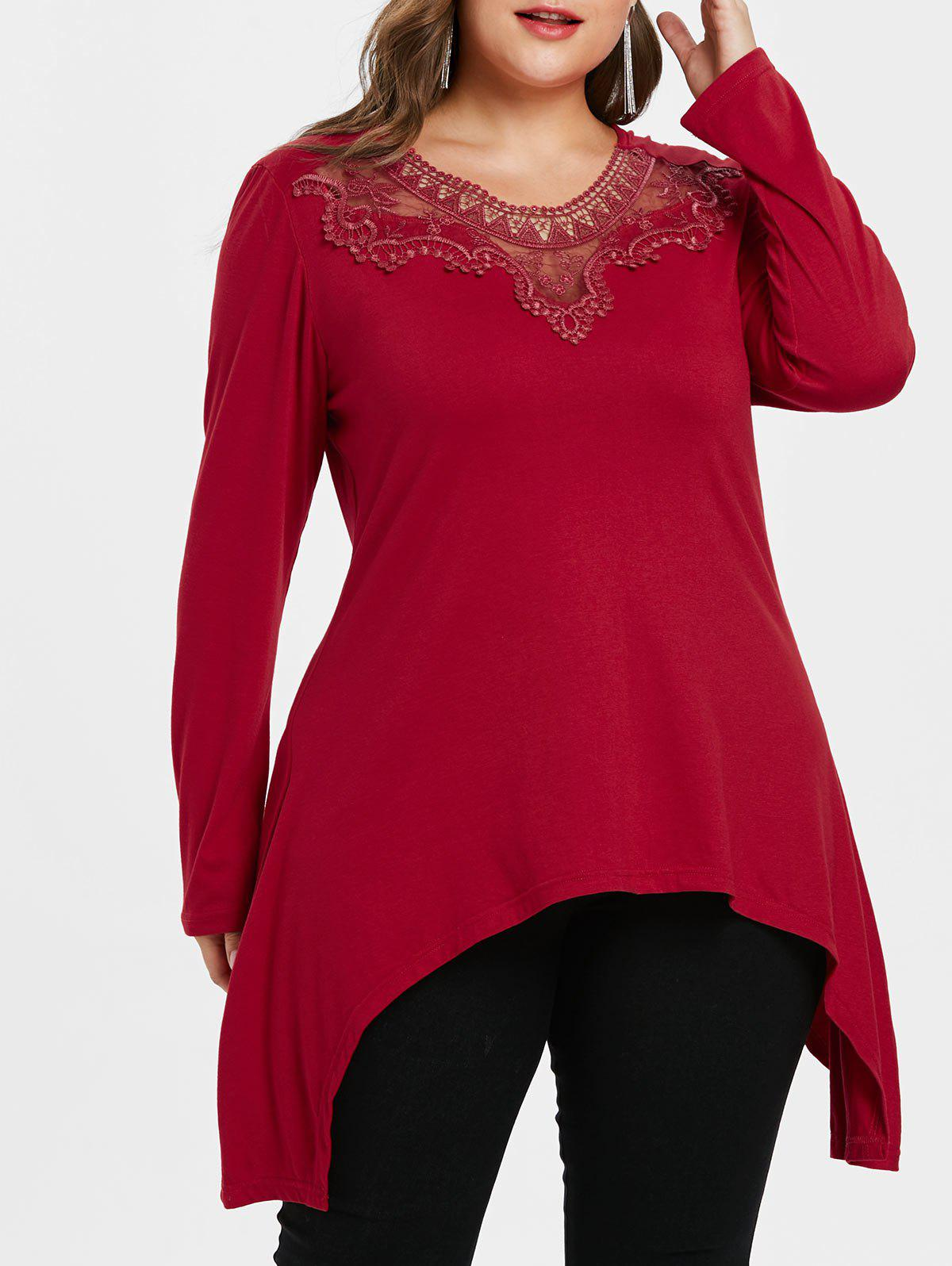 Plus Size Lace Detail Long Tee - RED L