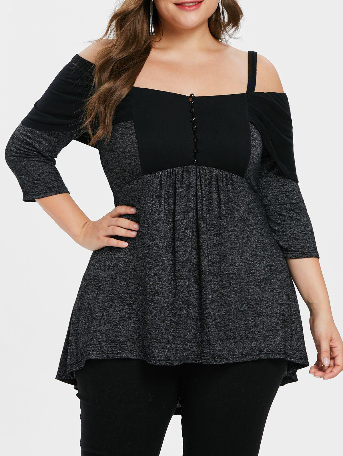 Plus Size Cold Shoulder Marled Tunic T-shirt - BLACK 2X
