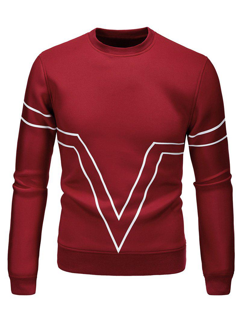 Line Print Round Neck Sweatshirt, Lava red