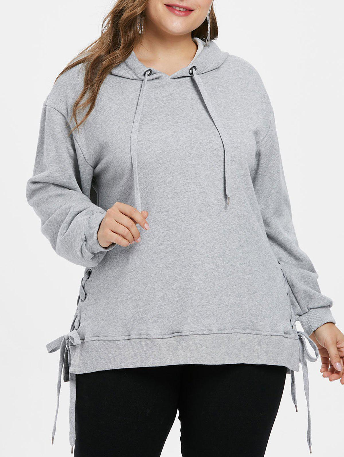 Plus Size Criss Cross Long Hoodie - GRAY L