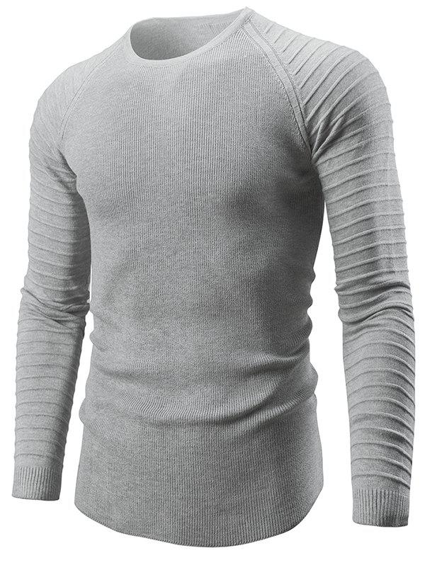 Pleated Sleeve Slim Fit Sweater - LIGHT GRAY L