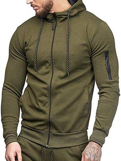 Casual Pockets Zip Up Outwear Hoodie - ARMY GREEN XS