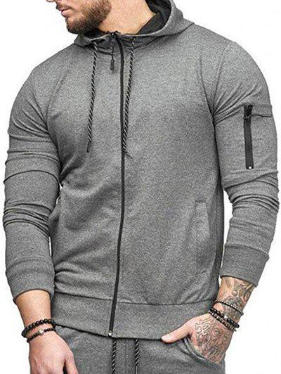 Casual Pockets Zip Up Outwear Hoodie - GRAY XS