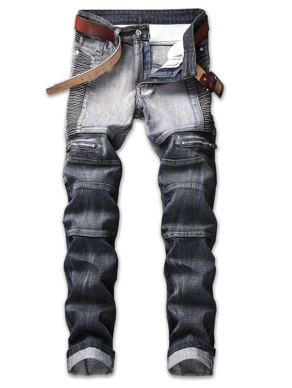 Pleated Zipper Decorated Denim Jeans - GRAY 36