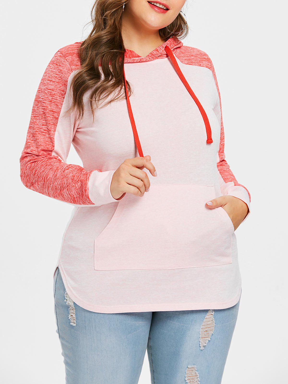 Plus Size Fitted Kangaroo Pocket Hoodie - multicolor 4X