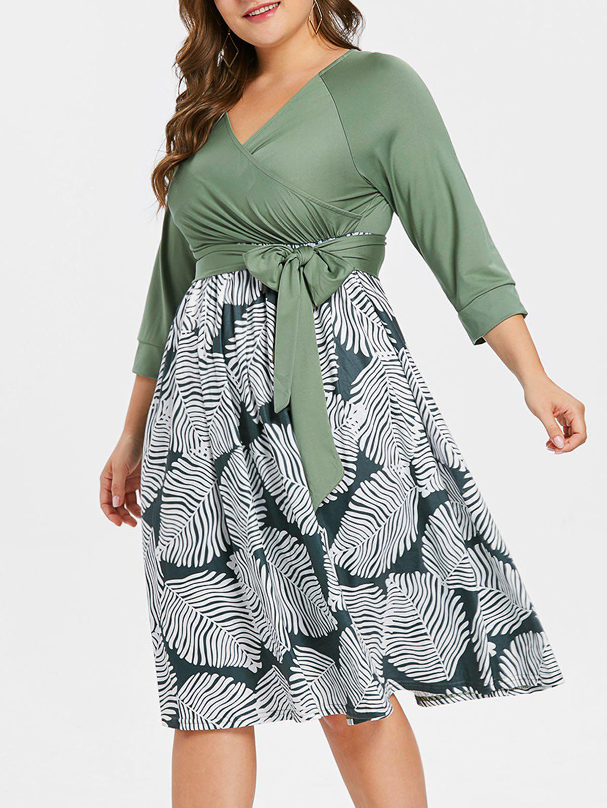Plus Size Belted Printed Dress - GREEN 2X